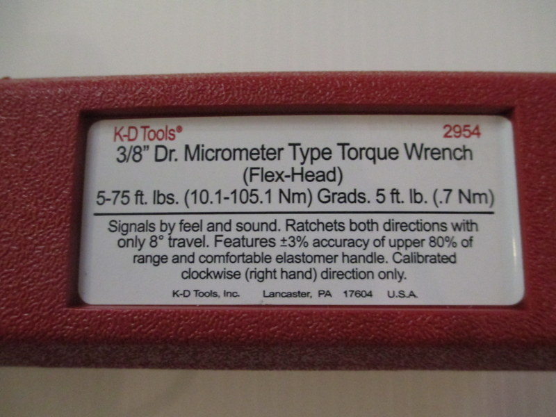 Details about new KD 2954 Micrometer Flex Head Torque Wrench Driver 3/8  5-75 Ft-Lbs
